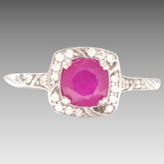 Estate Original Ruby .85ct, 14kt White Gold Ring w/ Diamonds .20tcw Halo Style.  Can be your everyday ring or a great engagement ring