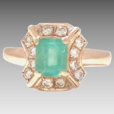 Estate Vintage 14 kt Yellow Gold Emerald and Diamond Ring Circa 1970 A Beautiful Ring that has kept its eye appeal for 50 yrs (COLR10157)