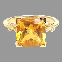 Vintage 1940's 14kt Yellow Gold and Citrine Dinner Ring(COLR10201) Classic Beauty Size 7.25