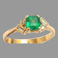 18kt Yellow Gold Custom Made Ring from Columbia w/ a Fine Emerald and Fine Accent Diamonds Circa 1959(COLR10204) size 7.5