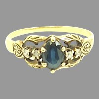 Vintage 14kt yellow gold and deep blue Sapphire with Diamonds Ring. Great classic design Circa 1930(COLR10205) Quality Ring. Size 6.75 US