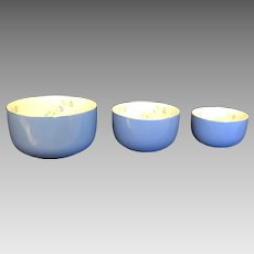 "Vintage Hall's Superior Quality Nesting Bowls Circa 1940's ""Morning Glory"" Patterned Mixing Bowls Set of 3 (COLT10160)"