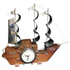 Vintage United Wooden Ship Clock Working and Intact (COLT10161)