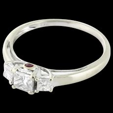 Christmas SALE 64% OFF Detailed Diamond Three Across with Hidden Ruby .70tcw Past Present Perfect Future 14k white gold