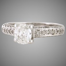 Beautiful Vintage Cushion Cut Diamond with a pave side diamonds 1.21tcw in  14kt white gold WOW (DIAR10190A)