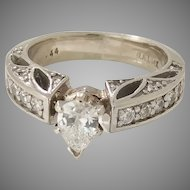 Vintage Custom Made 14Kt White Gold with .94tcw Diamond Ring,  (DIAR10210)