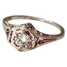 Wow Just Reduced Vintage Filigree Heirloom 18K Ring .40ct Fine Diamond (DIAR10225A)