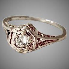 New Arrival: Vintage Filigree Heirloom 18K Ring .40ct Fine Diamond (DIAR10225A)