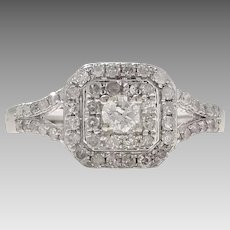Incredible! 0.50tcw 10K White Ring with Filigree (DIAR10266)