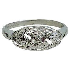 Vintage Princess Ring 10 Karat White Gold and Diamond Circa 1962 (DIAR10272)
