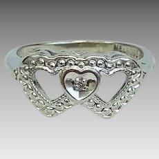 Vintage Sweetheart Rings Diamond and 10 Karat White Gold Interlocking Heart Rings Circa 1954 (DIAR10275)