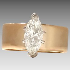 Estate Diamond Marquise Ring 1.20ct on Wide 14kt Yellow Gold Band (DIAR10277)