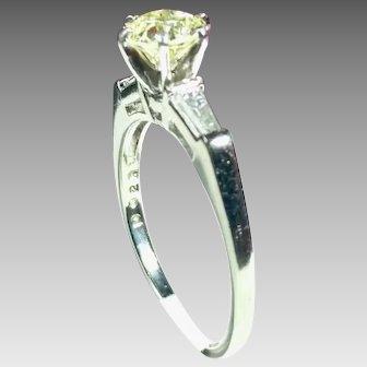 Vintage Platinum and Yellow Diamond Bridal Ring .950 Platinum (DIAR10279)