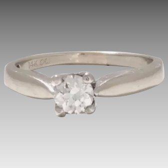 14 Karat White Gold and Old Mine Cut Diamond Ring 0.64 Carat Total (DIAR10281)