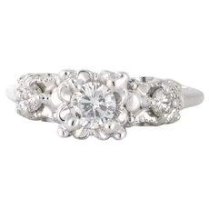 Vintage Mid-Century 14 Karat White Gold 0.60tcw Diamond Engagement Ring (DIAR10296)
