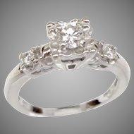 Vintage 0.40ct Diamond 14 Karat White Gold Engagement Ring Circa 1953 (DIAR10297)