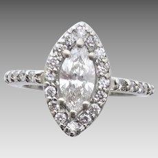 Estate Modern Diamond Marquis Halo Ring 14 Karat White Gold, Never Worn (DIAR10299)