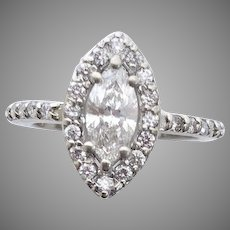 Marquis Diamonds are Hot for 2019, Bold Size Marquis with Halo Diamonds almost 1 ct. 14kt White Gold Ring (DIAR10299A)