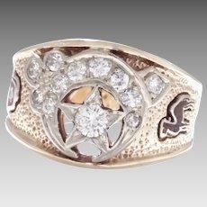Estate Vintage 10 Karat Yellow Gold Men's Masonic Diamond Ring (DIAR10300)