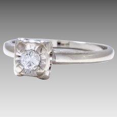 Vintage Estate 14 Karat White Gold Ring 0.12 Carat Diamond Circa 1952 In Original Box from 1953 (DIAR10302)