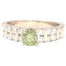 Vintage Estate Rare & Unique 14kt White Gold Ring with Green Diamond .96tcw Custom made Engagement ring 1970 (DIAR10308)