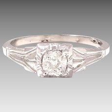Antique Beauty 14kt White Gold .38ct Diamond Old Mine Cut (DIAR10309)