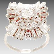 Vintage 14kt White Gold 3.00TCW Diamond Ballerina Dinner or Cocktail Ring. (DIAR10313)