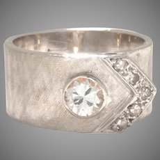 Beautiful Wide 14K White Gold Buckle Ring Style with Old Euro Cut Diamond .50ct plus Accent Diamonds Circa 1939 (DIAR10324)