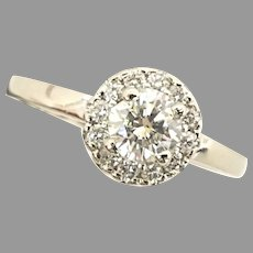 Gorgeous .65ct SI3 H Rd Diamond w/.20tcw Rd Diamonds Halo Setting Ring 14kt White Gold (DIAR10340) Size 7.5 US. Engagement or Right Hand on SALE Great Piece