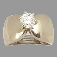 Great Estate 14kt White Gold .82ct Round Diamond Circa 1970's(DIAR10399) Size 6.75 on SALE Thru 7/07/2020 Fire Cracker Special!
