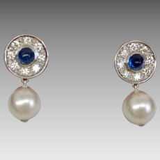 Exquisite Art Deco Custom Earrings with 0.80tcw Diamond, Platinum, and Sapphire Drop Earrings With 8.5mm Akoya Pearls (EARCOL10022)