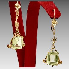 Large Golden Beryl Art Deco Earrings 18kt Yellow Gold with Large Golden Beryls Custom (EARCOL10026)