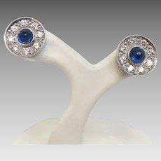Art Deco Custom Platinum Earrings with 0.80tcw Diamond and Sapphires STUNNING (EARCOL10027)