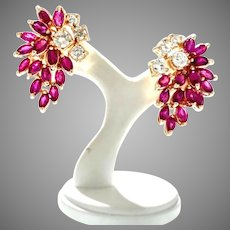 A Spring Bouquet of Natural Ruby Earrings, Cluster, Retro Style from 1974 14kt Yellow
