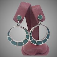 Vintage 1943 Turquoise and Sterling Silver Earrings (EARCOL10030)