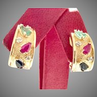 Shades of Carmen Miranda Exquisite Natural Emeralds, Rubies, Sapphires and Diamonds in a 14kt Earrings (EARCOL10033)