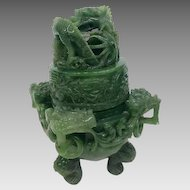 Vintage Chinese Emerald Jadeite Incense Burner RARE with Dragon Finial (GEM10035)