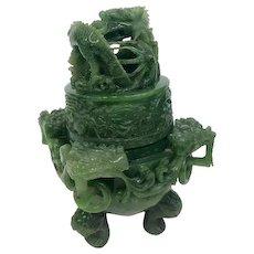 Vintage Chinese Emerald Jadeite Incense Burner RARE with Dragon Finial (GEM10035)