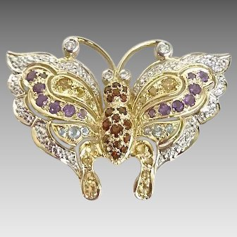 "30% OFF INTRO SPECIAL Beautiful! ""Butterflies aren't free"" 14KY, Diamond & Colored Stones Circa 1960's Pin (GOLD10030)"