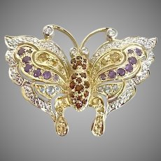 Wow SUPER MARK DOWN Spring Butterfly Multi color Gemstone 14kt gold Pin/Brooch (Gold10030A)