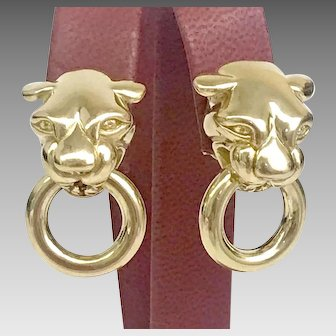 30% OFF INTRO SPECIAL Great Quality 14KY Panther Earrings Circa 1970's (GOLD10032)