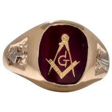 Vintage Masonic 10 Karat Yellow Gold Ring Circa 1960's (GOLD10041)