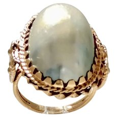 Vintage Estate 14 Karat Yellow Gold and Pearl Dinner Cocktail Ring (GOLD10044)