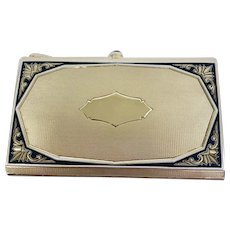 Vintage Elegance in 14 Karat Yellow Gold 1920's Compact As New with Sapphire Accents (GOLD10047)