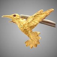 Vintage Estate 14K Yellow Humming Bird/ with Ruby eye Pin, Circa 1957 (GOLD10051)