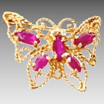 Vintage Butterfly Pin with Ruby and Diamonds, 14K yellow Gold, circa 1954 (GOLD10052)