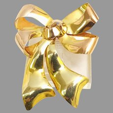 Famous 1940's Ribbon Design Pin in 10kt Rose & Yellow Gold by Carl Art Studios