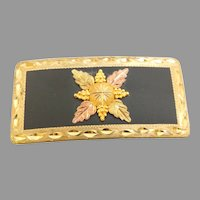 Black Hills 10kt Gold Trim Belt Buckle Circa 1990's(MENJ1007) Perfect Graduation, Birthday, or just because. A Real Bargain!