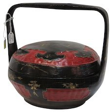 Authentic Chinese Fir and Bamboo dried fruit gift basket. Late Quig dynasty (1700-1911)