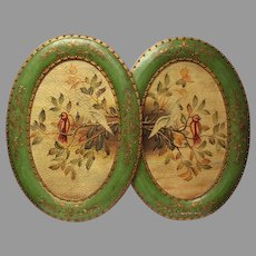 1880s Victorian Paintings Large Oval Rice Paintings – Cockatiels - Antique Home Decor